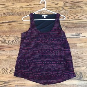 Black and Maroonish/Red Heart Flowy Tank, S